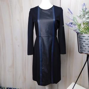 J. Crew Black Leather Panel Sheath Dress